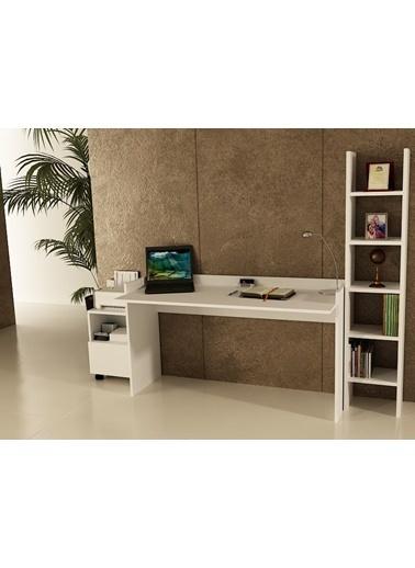 Sanal Mobilya Sirius Dolaplı Kitaplıklı Çalışma Masası 140-Gk-3A Beyaz